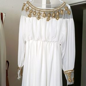 Beaded white long sleeve mesh maxi dress